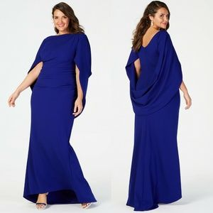Betsy & Adam NEW Royal Blue Capelet Gown Dress
